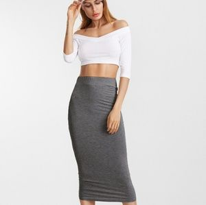 High Waisted Grey Midi Skirt